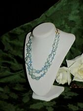 Glass & Blue Thermoset Moonglow Lucite Oval Crystal Bead Necklace Lisner 1950's