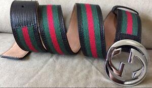 New W/ Black Green Red Web Gucci Belt 95cm 32-34