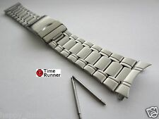 24 mm Curved End Stainless Steel Deployment Watch Band Bracelet