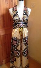 QED LONDON Fabulous Silky Grey & Gold Handkerchief Maxi Dress. SIZE M NEW