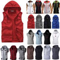 Mens Sleeveless Hoodie Vest Sport Muscle Hooded Coat Jacket Tank Top Zip Sweater