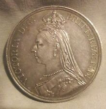 Great Britain 1887 Victoria Jubilee Silver Crown Very High Grade AU+