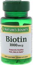 Nature's Bounty Biotin 1000 mcg Vitamin Supplement Tablets 100 ea (Pack of 2)