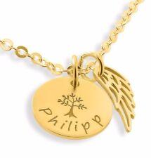 Engelflügel, Kette mit Gravuranhänger vergoldet, Namenskette, Geschenk zur Taufe