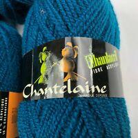 Vintage Chantelaine Yarn FRANCE Lot 4 Skeins Balls CANARD BLUE Acrylic Bl NOS