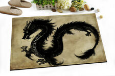 "Black Dragon Door Mats 15X23"" Kitchen Bathroom Shower Floor Non-Slip Mat Rug"