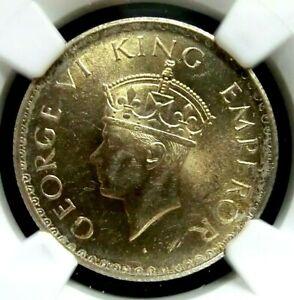 NGC MS62-India/British 1940(C) George VI Silver 1/2 Rupee BU Scarce