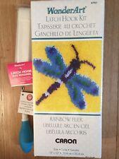 Caron Latch Hook Kit, Dragonfly, 12x12, Comfort Grip Tool, Binding, CRAFT BUNDLE