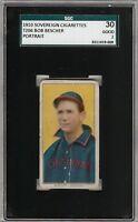 Rare 1909-11 T206 Bob Bescher Portrait Ghost Eyes Sovereign Back SGC 30/2 GD