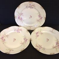 """Warwick China A2002 8 7/8"""" Luncheon Plates Lot Of 3 Blue Pink Flowers Gold Daubs"""