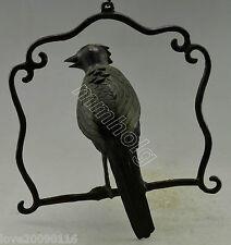 Collectible Decorated Old Handwork Bronze Bird In Cage Statue & Incense Burner