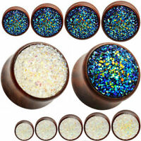 Ear gauge-Ear Plugs flesh tunnels wood double saddle ear stretch druzy stone