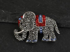 Solid Sterling Silver Brooch Elephant Marcasite Ruby .925