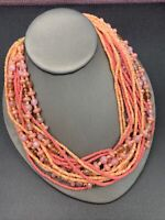 "Peach pink multi strand Bohemian bright beaded necklace 18"" fancy clasp"