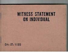 Vietnam Era Us Army Witness Statement on Individual Da 1155