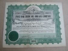 Old Vintage 1921 - POST OAK CRUDE OIL and GAS Co. - Stock Certificate - OKLAHOMA