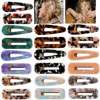 Fashion Women Geometric Hollow Acrylic Hair Clips Snap Barrette Stick Hairpin