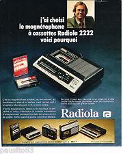 PUBLICITE ADVERTISING 065  1975  RADIOLA  le magnétophone à cassettes  2222
