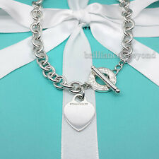 Tiffany & Co. Heart Tag Toggle Necklace Choker Chain Sterling Silver Box & Pouch