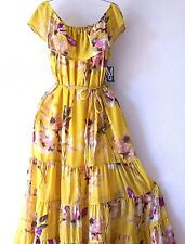 NEW~Long Mustard Pink Vintage Rose Ruffle Peasant Boho Maxi Dress~8/10/M/Medium