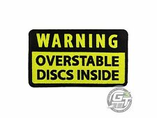 Pg Productions Warning Overstable Discs Disc Golf Iron-On Patch - Black/Yellow
