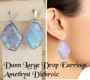Kendra Scott Dunn Large Drop Earrings, Amethyst Dichroic, NWT $80