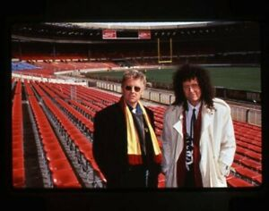 Queen Brian May Roger Taylor Candid Pose in Stadium Original 35mm Transparency