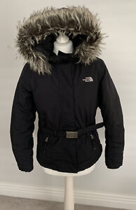 Ladies Womens Black Hooded North Face Jacket Size S/P UK 10