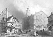 BOSTON FANEUIEL HALL Market Cradle of Liberty ~ 1838 Antique Art Print Engraving