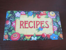 Mary Engelbreit Recipe File Box Black Polka Dots w Cherries Flowers New & Sealed
