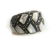 Vintage Sterling Silver Marcasite Mother Of Pearl RING Size 5.75. Marked 925.