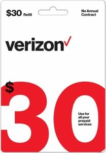 Verizon Wireless- $30 Refill,  Top-Up Airtime Card for Verizon Prepaid Service