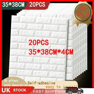 20pcs 3D Tile Brick Wall Sticker Self-adhesive Waterproof Foam Panel Wallpaper w