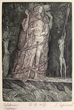 WHORE OF BABYLON Original etching by Leonid STROGANOV, Russian Ex Libris Artist