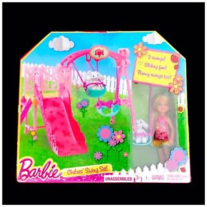 Mattel Barbie Sisters Chelsea Doll Swing Set Slide Playset RARE NIB New