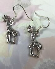 CUTE GIRAFFE DROP EARRINGS  Tibetan Silver with Silver plated hooks in Gift Bag