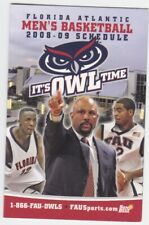 2008-09 FLORIDA ATLANTIC UNIVERSITY OWLS MEN'S BASKETBALL POCKET SCHEDULE