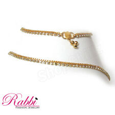 Simply Beautiful Design Gold plated  anklet (payal) with white stone