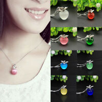 Women 925 Silver Plated Apple Pendant Necklace Choker Chain Jewelry Gift Fashion