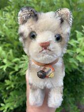 "Adorable Antique Steiff Tabby 8"" L Mohair Kitten Cat Sweet Chest Tag LOOK NR"