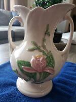 """Vintage Hull Art Pottery Magnolia Vase 8.5"""" Pink Floral"""