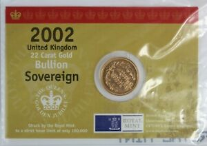 GOLD SHIELD BACK SOVEREIGN 2002 BULLION IN THE ROYAL MINT CARD
