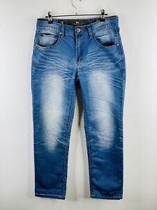 Crosshatch Men's Denim Jeans Size 30 Blue Casual Zip Close with Pockets