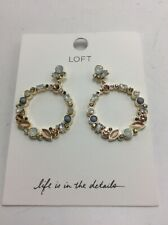 $34 .50 Loft  GOLD TONE OPEN HOOP SET STONE EARRINGS #123