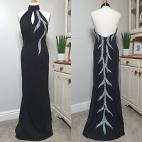 MORGAN & CO (UK size 10) Black Maxi Gown Dress with Sequin Train - Prom/Cruise