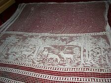 """""""""""French Crochet? - Extra Large Curtain Panel - Deer Design Inlay"""""""" - Vintage"""