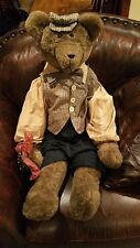 """40"""" Collectors Bear dressed Sharply with shirt vest hat Tie for your Show Room"""