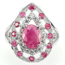 GORGEOUS TOP RED PINK RUBY SOLITAIRE,W CZ ACCENTS STERLING 925 SILVER RING SZ 6