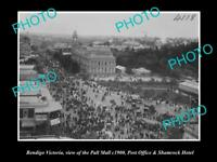 OLD LARGE HISTORIC PHOTO OF BENDIGO VICTORIA, VIEW OF PALL MALL, PO etc c1900