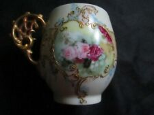 T&V Limoges France Chocolate Cup - Heavy Gold & Hand Painted Roses
